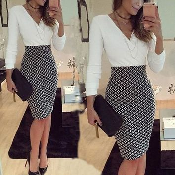 Women OL Formal Business Work Stretch Dress  Long Sleeve V-neck Plaid Patchwork Party Slim Bodycon Pencil Dress