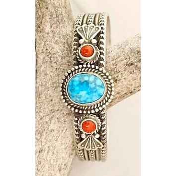 Sunwest Jewelry~ Navajo Stamped Turquoise and Coral Cuff