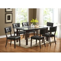 Homelegance Clarity Glass Top Dining Table in Espresso