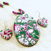 Polymer Clay Jewelry Set, Pendant and Earrings, Fun Jewelry,Wearable Abstract Art Jewelry,Artisan Handmade Polymer Clay Jewelry