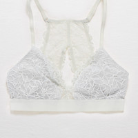 Aerie Lace Keyhole Triangle Bralette, True Black