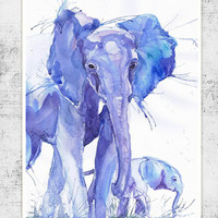 Elephant with baby, wildlife,  watercolor,  wall decor,  animal art, art print, nursery decor, mothers day gift, children art, Illustration
