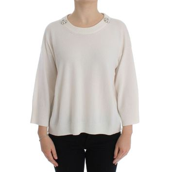 Dolce & Gabbana White Cashmere Floral Pearl Sweater