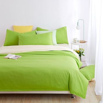 Minimalist Bedding Sets Apple green Duver Quilt Cover Bed Sheet Beige Pillowcase Soft and Comfortable King Queen Full Twin