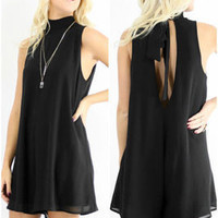SIMPLE - Black Backless Sleeveless One Piece Dress b5078