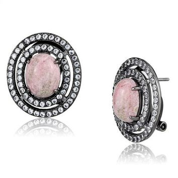 Women's Pink Coral Light Black Plated Stud Earrings Stainless Steel