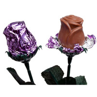 Foiled 1/2-Ounce Milk Chocolate Roses - Lavender: 12-Piece Box
