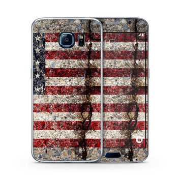 Rustic Cracked Concrete American Flag Skin for the Samsung Galaxy S-Line