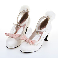 2016 rabbit ears ribbon fluffy pumps single high heel shoes japan style student lolita shoes lovely pumps cosplay shoes