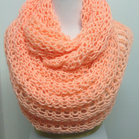 Peach colored,Knitted Infinity Scarf ,Soft Neck Warmer Warm Scarf for Winter Double Knit