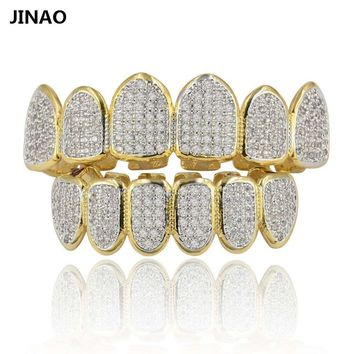 JINAO Gold Silver Plated Hip Hop Teeth Grillz All Iced Out CZ Stone Micro Paved Men n Women's Top&Bottom Grills Set Ship From US
