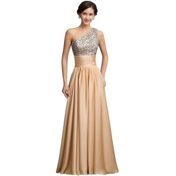Gold Sequins Long Evening Dress Women Casual Party Dresses  Floor Length Satin Maxi Evening Gowns