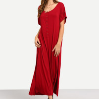 Button Down Casual Slit Comfy Dress 11763