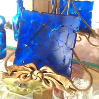 Cobalt Blue Sculpted Dish Fused Glass