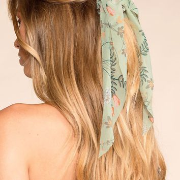 New Romance Sage Floral Scarf Ponytail Hair Tie