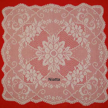Tablecloth Square Filet Chart Pattern Crochet Doily Houseware Carre PDF Instant download Niatta