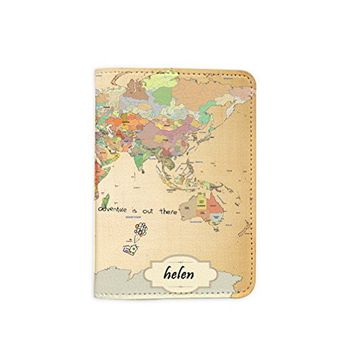 World Map Travel [Name customized] Passport Holder - Leather Passport Cover - Travel Accessory- Travel Wallet for Women and Men_Matrioshka