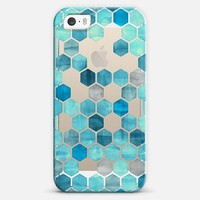 Teal Blue Crystal Hexagon Pattern iPhone 5s case by Micklyn Le Feuvre | Casetify