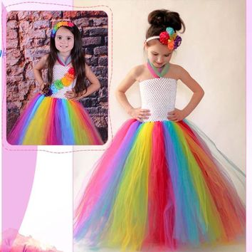 Candy Rainbow Girls Carnival Costume Tulle Tutu Dress Children Wedding Dresses Girl Photo Props Summer Clothing for Girl