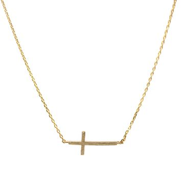 Handcrafted Brushed Metal Sideway Cross Necklace