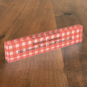 Acrylic Desk Nameplate, Red and White Checked Desk Name Plate