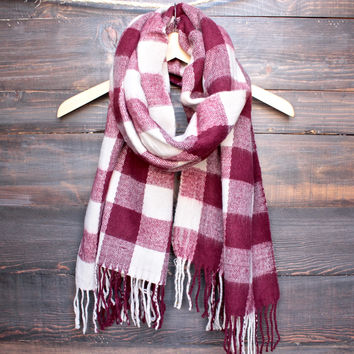 burgundy + cream plaid scarf with fringe tassels