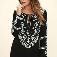 A Day in the Life Black and White Embroidered Dress