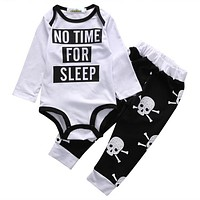 Newborn Kids Baby Girls Boys Clothes Set Tops Rompers Skull Pants Cotton Cute Baby Boy Outfits Clothing Set 0-18M