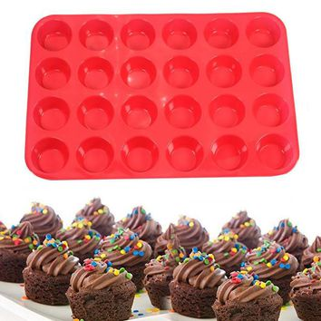 VONC1Y 24-Cup Non-Stick Silicone Baking Mold for Muffins, Cupcakes and Mini Cakes