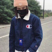 Fashion Online Champion Fashion Cashmere Lapel Zipper Denim Jacket Coat