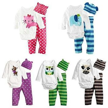 Hot Baby Romper Sets (Romper+Hat+Pants)Cotton Children Casual Cartoon Baby Boys Girls Sets Clothes baby boy clothes suit