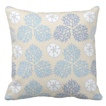 Coral Reef and Sand Dollar patterns Throw Pillow