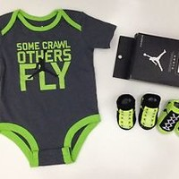 AIR JORDAN 3-pc Outfit GIFT SET BABY BOYS  Bodysuit/Romper & Booties 0-6M