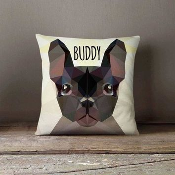 Personalized Geometric Bulldog Dog Pillowcase | Decorative Throw Pillow Cover | Cushion Case | Designer Pillow Case | Gift for Pets Lovers