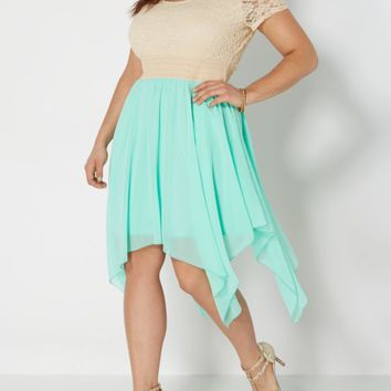 Plus Lace Mint Sharkbite Dress | Plus Midi Dresses | rue21