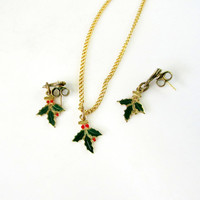 Christmas Holly Pendant Necklace And Earrings Minimalist Jewelry Set Enamel On Metal Vintage Collectible Gift Item 2334