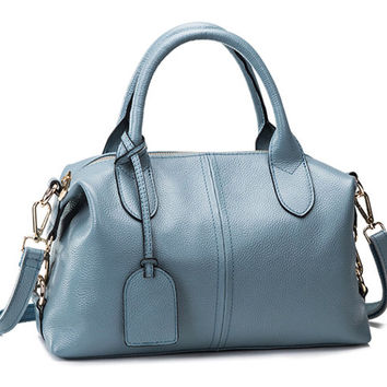 Medium Size Modern Causal Chic Soft Blue Leather Tote. Ladies Genuine Leather Handbag Leather Purse. Sling Bag