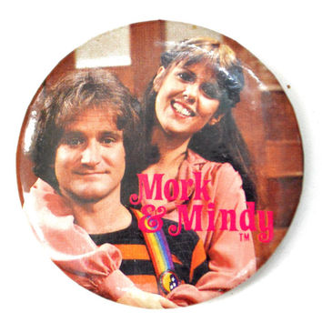 Vintage 70s Mork & Mindy Pinback Button Badge Pin