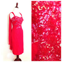 Vintage 1950s cocktail dress / 50s red sequin silk dress / Retro sheath dress / evening size S small M Medium