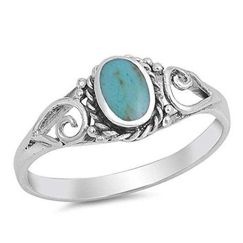 Vintage Style Turquoise 925 Sterling Silver Ring Size 6