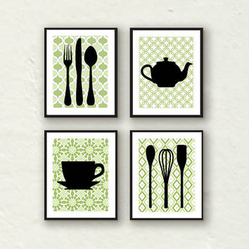 Modern Kitchen Wall Decor - Utensils, Teapot, Teacup Silhouette - Set of 4 8x10 prints