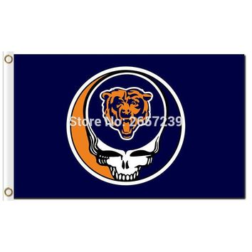 Chicago Bears Stealing Your Face Flag 3x5FT NFL banner 100D 150X90CM Polyester brass grommets custom66,free shipping