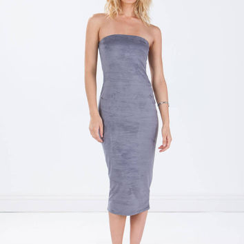 Strapless faux suede grey dress