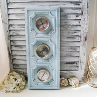 Beach Blue Vintage Weather Barometer, Light Blue Weather Station, Springfield Humidity Meter, Shabby Chic Blue Decor, Coastal Wall Decor