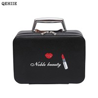 QEHIIE new high-end PU ladies cosmetics cosmetic bags travel portable cosmetics storage box Organizer travel beauty makeup case