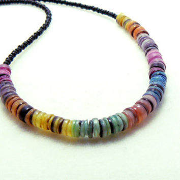 Seed bead necklace with rainbow hand cut heishi hammershell beads and a silver toggle clasp necklace, statement necklace, shell necklace
