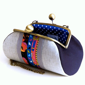 Clutch Bag, Patchwork Details, Anti bronze metal chain and big kiss locks, Christmas Gift, Ready to Ship!