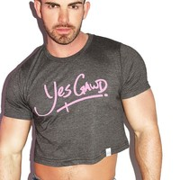 Yes Gawd Crop Tee- Charcoal