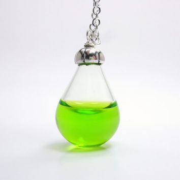 Neon Green Liquid Filled Hand Blown Glass Teardrop Pendant Necklace - Drip Collection