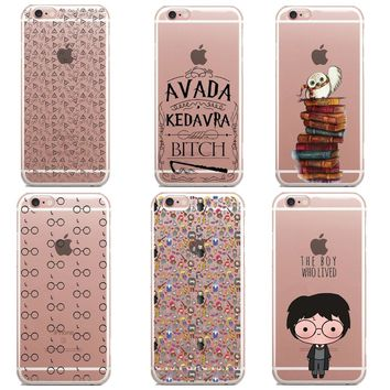 Harry Potter glasses Owl Hedwig Book Soft Silicone Phone Cases for iPhone 6 6s 5 5s SE 7 7Plus 6S Plus 8 8Plus X